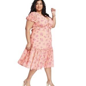 LOVESHACKFANCY Fleur Pink Melon Midi Dress Size 16
